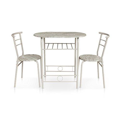 IKAYAA 5PCS Ensembles pour Salle à Manger en Métal Moderne Cuisine Table Chaises Définie pour Meubles de Cuisine 4 Personne 120kg Capacité de Charge (#2)