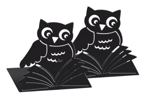 moses. Buchstützen-Set Büchereule libri_x , 2er-Set Buchständer aus Metall , Zwei schwarze Metall-Buchstützen im Set mit wunderschön ausgestanzten Bücher-Eulen