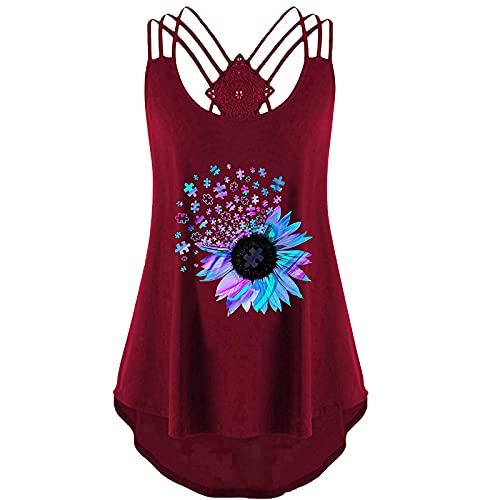 Camiseta de tirantes para mujer, para verano, elegante, sin mangas, espalda descubierta, sexy, elegante, camisola, suelta, cuello redondo, estampado, Vino-1., XXL