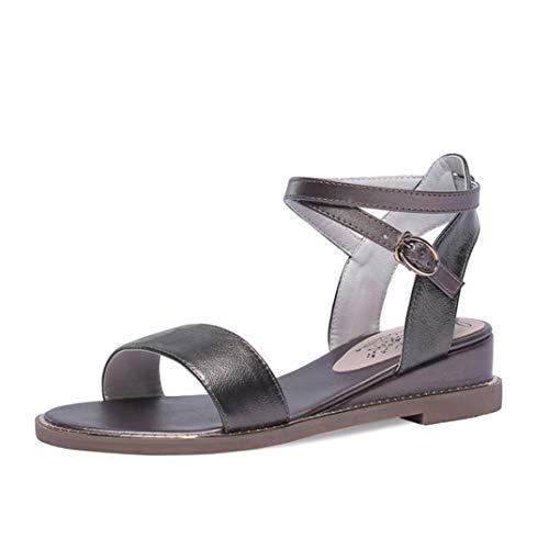 Frauen Open Toe Wedge Heels Kreuzriemen Sommer Casual Rom Sandalen Einfache Runde Zehen Mode Einfarbig Fisch Mund Schuhe Größe 35-42