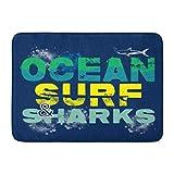 ECNM56B Fußmatten Bad Teppiche Fußmatte Blue Fish of Ocean Surf und Shark Graphics Surfbrett Beach Board 15,8'x 23,6'