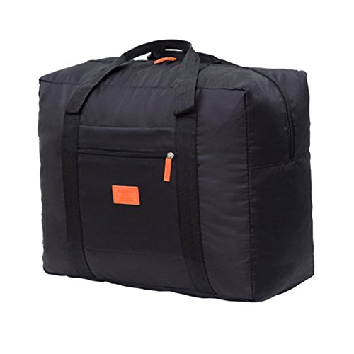 Zhouba, borsone da viaggio pieghevole, in nylon, impermeabile, di grande capacità, Nylon, Nero , taglia unica