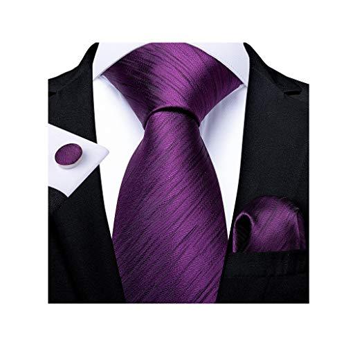WYBFZTT-188 Moda Hombres Corbata púrpura Seda Seda Corbata de Boda para Hombres Hanky Gemelos de Gemelos Conjunto de Corbata de Regalo Traje Partido de Negocios (Color : A)