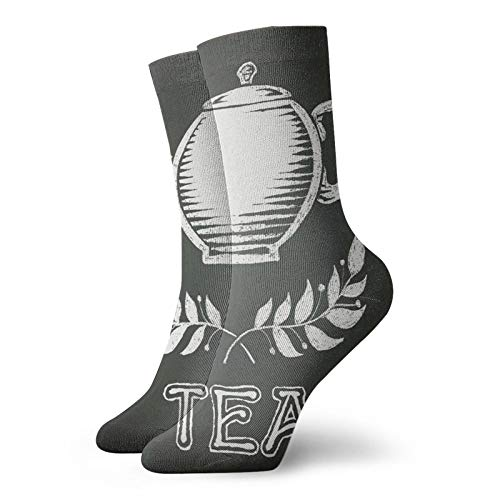 Soft Mid Calf Length Socks Teapot With Leaf Branches Drawn To Chalkboard Grunge Traditional Culture Print Decorative Socks for Men Women