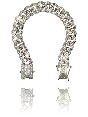 Ventr UK 12MM Iced Out Curb Cuban Chain Link Bracelet...