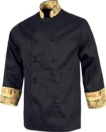 Work Team Casaca Cocinero con Botones de Seguridad, puños Combinados Estampado Letras. Hombre Negro M