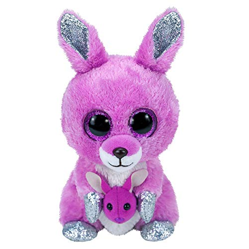 Claire's Exclusive Official Ty Beanie Boo Rory The Kangaroo Soft Plush Toy for Girls, Pink, Small, Stocking Filler, 6 Inches