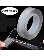 Double Sided Nano Tape, Adhesive Sticky Gel Grip Removable Wash-able Transparent Tape Traceless Heavy Duty Mounting Tape for Carpet Fixed Festival Car Home Office Wall Decor 3.0M 9.8FT