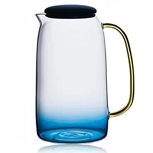 QUYUAN Jarra Botella de Vidrio de 1550ML con Tapa Jarra de Agua fría Soulhand de Cristal de borosilicato Resistente al Calor Jarra de Vidrio sin para café té y Zumo con Estilo Moderno para Bebidas