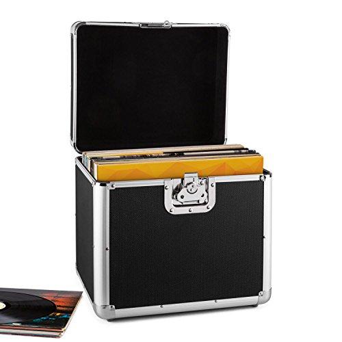 resident dj Zeitkapsel - Plattenkoffer, Aluminium-Koffer, Vinyl-Case, Schallplattenkoffer, für 70 LP, Klappdeckel, Aluminium-Profile, Schutzkanten, Schutzecken, Metallscharniere, schwarz