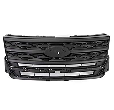 ZMAUTOPARTS Front Bumper Upper Hood Sport Grille Shell Gloss Black Compatible with 2018-2020 Ford Explorer