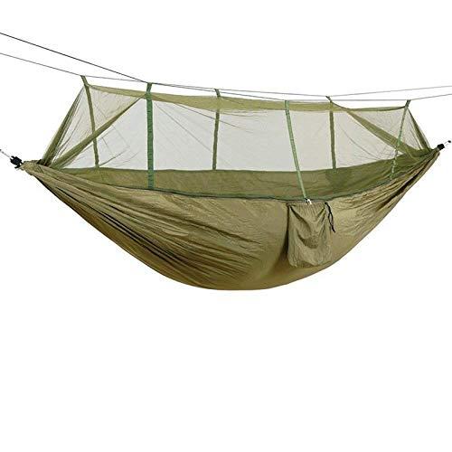 XIAOSHAN Hamaca para acampar/jardín con mosquitera, muebles al aire libre para 1-2 personas, portátil, para colgar la cama de fuerza de paracaídas de tela para dormir columpio
