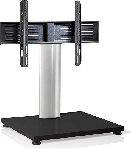 VCM TV Stand TV Stand TV tafel glazen staander houder staan meubel rek VESA Universal zilver/witte lak 77 x 68 x 54 cm