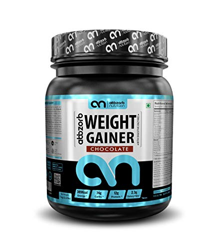 Abbzorb Nutrition Weight Gainer with Vitamins(B,C,D) Minerals (Calcium, Iron, Zinc)   with Digestive Enzymes (Chocolate, 1 Kg)