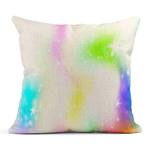 Kinhevao Cojín Unicornio Rainbow Mesh Universo Kawaii en Colores Princesa Gradiente de fantasía Holograma Holográfico Magia Destellos Cojín de Lino Almohada Decorativa para el hogar
