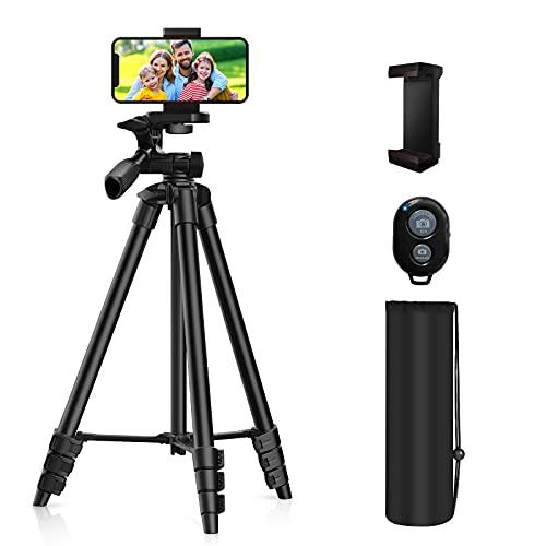 """Fatorm Handy Stativ, 53 """" (135cm) Leichtes Kamera Stativ für Smartphone mit Bluetooth-Fernauslöser, Geeignet für Smartphone, Reise, Video, DSLR-Kamera"""