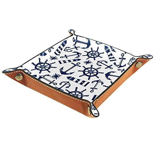 YATELI Caja de Almacenamiento pequeña, Bandeja de Valet para Hombre,Faro de Ancla Marino,Organizador de Cuero para Llaves de Caja de Monedas