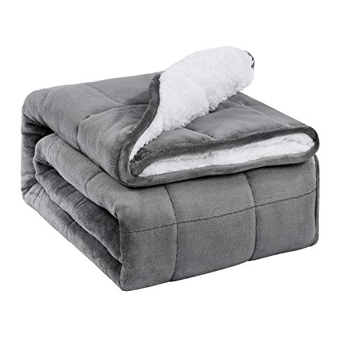 BUZIO Sherpa Fleece Weighted Blanket for Adult, 20 lbs Heavy Fuzzy Throw Blanket with Soft Plush Flannel, Dual Sided Full Size Cozy Fluffy Blanket, 60 x 80 inches, Grey