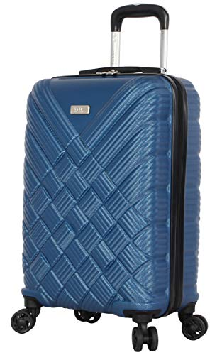 Nicole Miller New York Luggage Collection - 20 Inch Carry On (ABS+PC) Hardside Suitcase - Lightweight Designer Bag with 8-Rolling Spinner Wheels (Basket Weave Dark Lake Blue)
