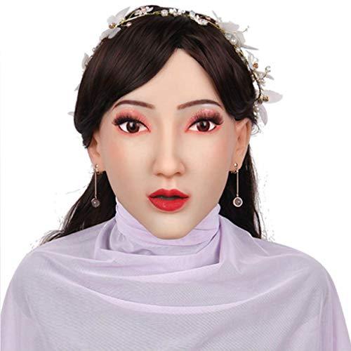 CUSHION Weiche Silikon-Realistic Female Kopfmaske Hand-Made-Gesicht für DWT Transgender Kostüme Disguise Maskerade-Partei-Halloween-Maske Puppe für Cosplay Transgender,Asianyellow