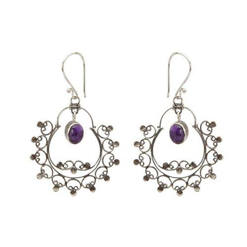 Shadi - Pendientes de plata de ley y amatista - joyería de plata artesanal