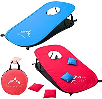 Himal Collapsible Portable Corn Hole Boards With 10 Cornhole Bean Bags And Tic Tac Toe Game 2 Games on 1 Board (2 x 1-feet) by Himal Outdoors