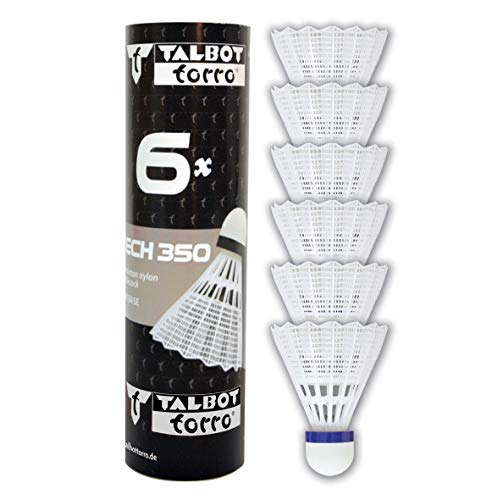 Talbot Torro Badminton-Ball TECH 350 6, 6er Dose, Korb: Weiß, Geschwindigkeit Blau-Mittel, M