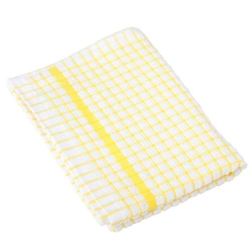 Lamont 1 Dozen Original Poli-Check Tea Towel Kitchen Dish Towels Poli Dri, 12 Pack (Yellow)