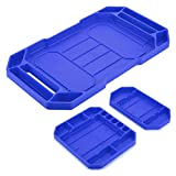 BSTKEY Set of 3 Flexible Silicone Repair <span class='highlight'>Tool</span> Tray - Multi Purpose Socket Organizer Mat Grip Mat <span class='highlight'>Tool</span> Mat <span class='highlight'>Tool</span> Storage Holder (Blue)