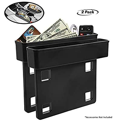 Lebogner Between Car Seat Gap Filler Organizer, 2 Pack Side Of Center Console Storage Box For Money, CellPhone, Coins and Keys, Multifunction Crevice Pocket Caddy Catcher, Vehicle Interior Accessories