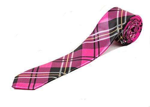 Style rétro pour homme Tartan Skinny Cravate – Rose