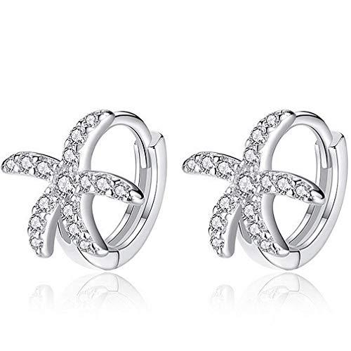 YAXUN Damen Creolen Ohrringe Silber 925 Schöne Seestern Kristall Zirkonia Ohrstecker Schmuck Geschenke für Frauen Mädchen - Exquisite Schmuckkästchen