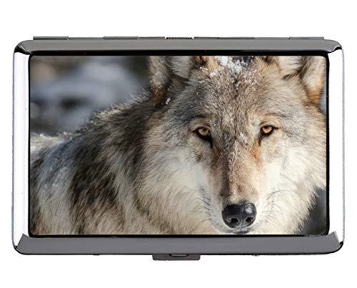 Zigarette Hard Box und Halter, Wildlife Raubtier Wolf Schutz Credit Visitenkarte Inhaber Fall