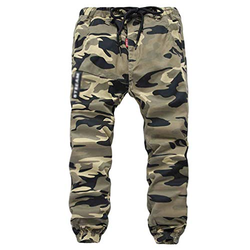 YOUJIAA Cargohose für Jungen Jogginghose mit Bündchen Drawstring Trousers Military Muster - Camo #1, 160 (Relaxed)