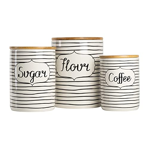 10 Strawberry Street Everyday Coffee, Sugar, Flour Kitchen Canister Set, 3 Piece, Black/White