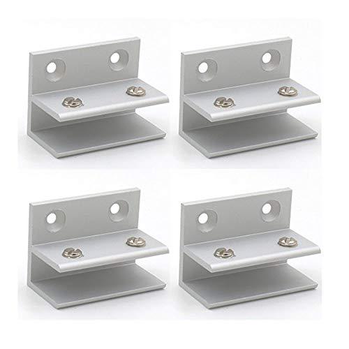 Set mit 4 NUZAMAS F-Form-Glasklemmen, Glas-Wandhalterung, Wandklemmen, Dusche, Regal, Paneele, Klemmung 10-12 mm