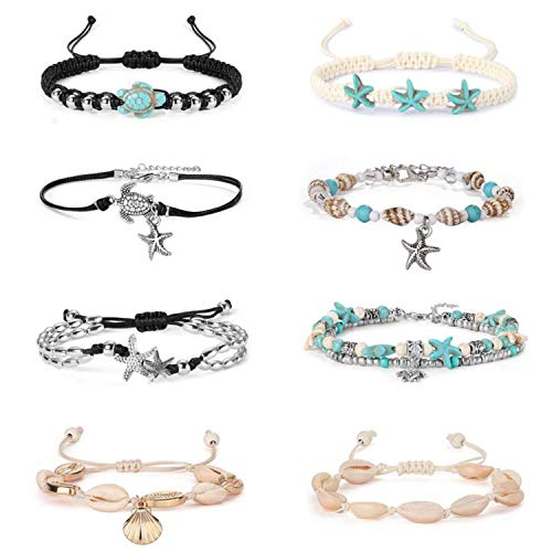 YADOCA 8PCS Anklets for Women Girls Blue Starfish Turtle Shell Anklet Chains Handmade Multilayer Anklet Bracelet Adjustable Beach Foot Jewelry