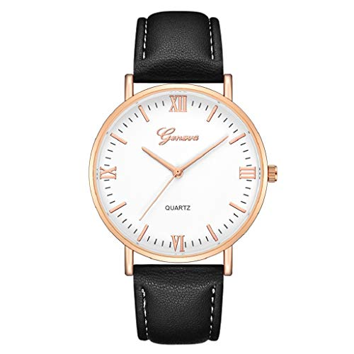 Luckycat Relojes de Cuarzo analógicos para Mujer niña Relojes de Mujer Relojes de Pulsera Mujer Banda de Cuero Relojes de Acero Inoxidable para Mujeres Hombre - Estilo de Pareja