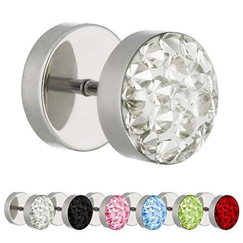 Treuheld Piercing Fake Plug - Silber - Schutzschicht - Kristall [1.] - klar