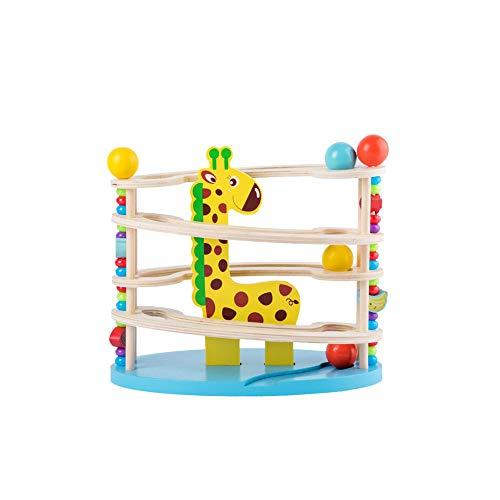 HSCW Juego de bolas de madera, juegos de escritorio de inteligencia para niños, juguetes de bloques de construcción de madera, juguetes de torre de bolas de animales de dibujos animados, cognición del