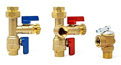 Libra Supply 1 inch Tankless Water Heater Service Valve Kit w/Pressure Relief Valve, Clean Brass Construction. 1'' Isolation Valve Kit for Tankless Water Heater