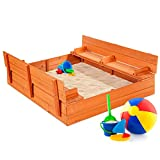 Best Choice Products 47x47in Kids Large Wooden Sandbox for Backyard, Outdoor Play w/Cedar Wood, 2...