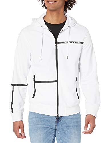 ARMANI EXCHANGE Sweatshirt Felpa con Cappuccio, Bianco, L Uomo