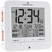 Marathon Digital Medication Reminder Alarm Clock with 4 Alarms and Auto Backlight - Large Time, Date and Temperature Display - Batteries Included - CL030075WH (White)
