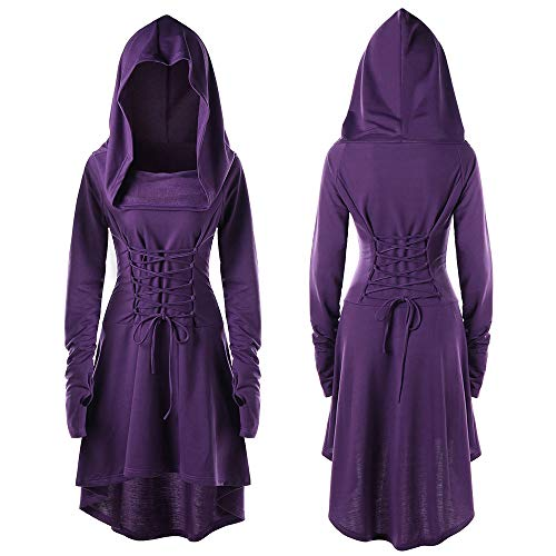 Fall Dresses Lace Up Festival Performance Dress Long-Sleeved Hooded Vintage Pullover High Low Bandage Long Dress Cloak Purple