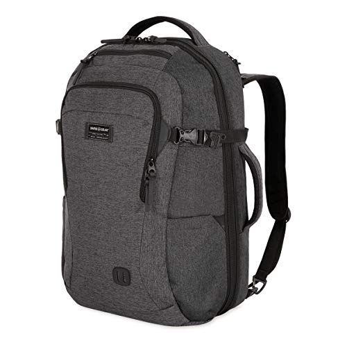 SWISSGEAR Hybrid 15-inch Laptop Backpack | Travel, Work School | Men's and Women's - Heather Grey Large Version