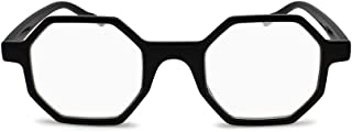 2SeeLife Hexagon Reading Glasses Unique Geometric Octagon Shape (+1.25, Shiny Black)