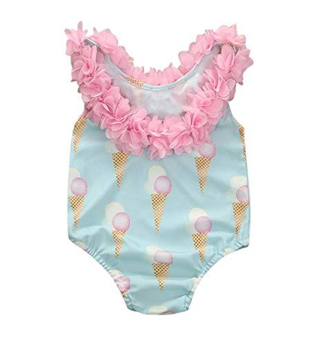Jimmackey Costumi da Bagno Bambina Costume Mare Bimba Fiore Costume Intero Bagnarsi Beachwear Neonata Romper Senza Schienale Swimsuit Costume da Bagno (3-4 Anni, Blu)
