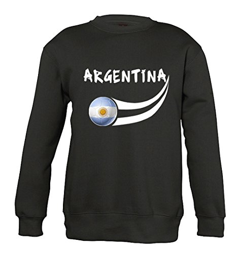 Supportershop Sudadera Argentina para niño, Niños, Sudadera, 5060570682308, Negro, 104