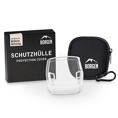 Borgen Displayschutz - geeignet für Bosch Intuvia Schutzhülle - Zubehör für E-Bike Display - 100{06114ce9c9b3ad309304dc029c235ac36e4d1d00694c553b97f02aa010f0f508} transparent, wasserdicht - Inkl. Display Tasche / Hülle aus Neopren (TPU-Hülle + Tasche)